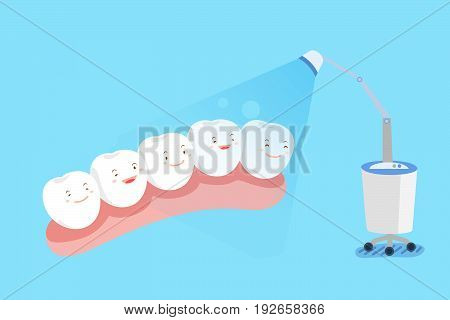 cute cartoon tooth with paparazzi on the blue background