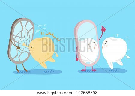 cute cartoon tooht with health concept on the blue background