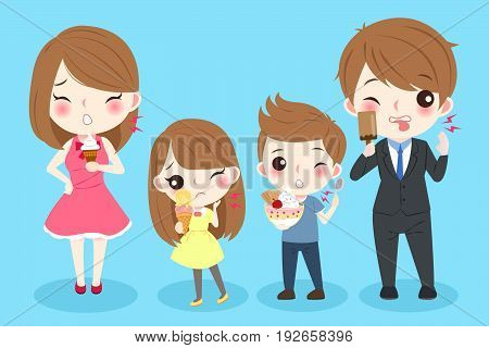 cute cartoon people with tooth sensitive on the blue background