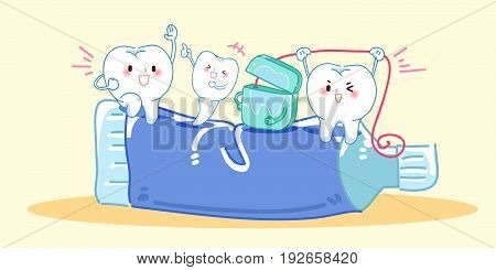 cute cartoon tooth and tooth brush playing with dental floss