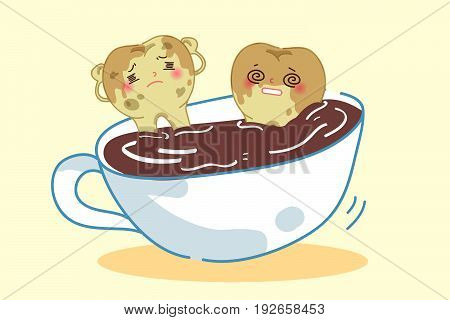 cute yellow cartoon tooth in cup of coffee
