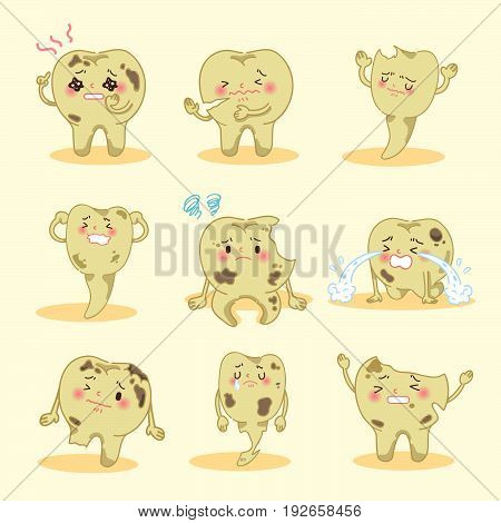 cartoon tooth decay feel unhappy and pain