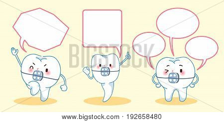 cartoon tooth wear brace with speech bubble