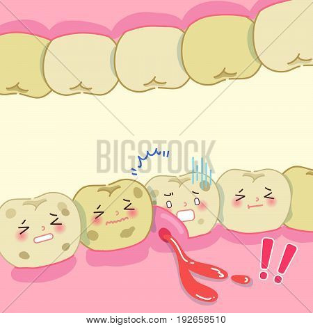 cute cartoon tooth decay problem for your health concept