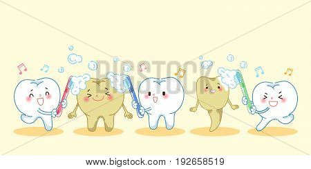 cartoon teeth holding a toothbrush and smile happily