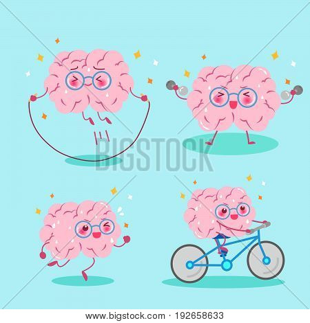 cute cartoon brain do exercise on the green background