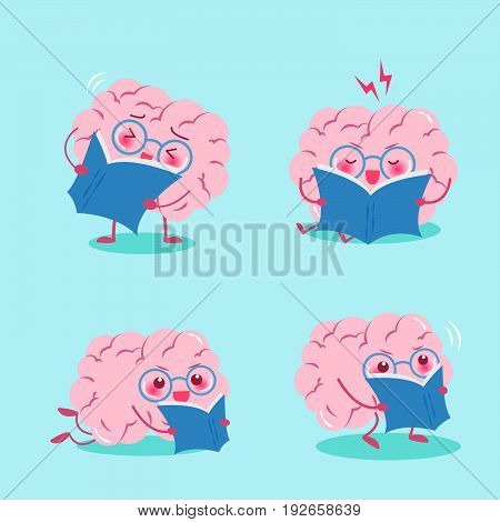 cute cartoon brain read book on the green background