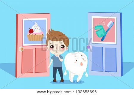 cute cartoon boy and tooth with helath concept