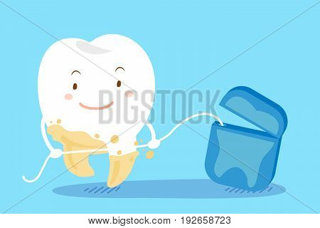 cute cartoon tooth with clean concept on the blue background