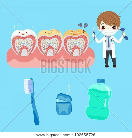 cartoon doctor with tooth on the blue background