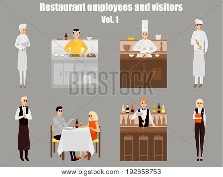 Restaurant workers cartoon characters. People work in restaurant isolated. Japanese cook cooking sushi. Couple on a date in cafe. Vector illustration in flat style design.