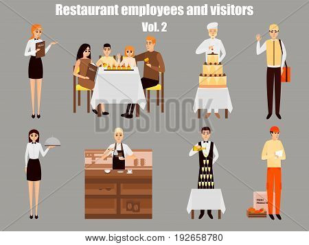 Restaurant workers cartoon characters. People work in restaurant isolated. Family having dinner in cafe. Vector illustration in flat style design.