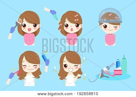 cartoon woman with hair salon on the blue background