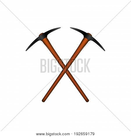 Two crossed mattocks in black design with wooden handle on white background
