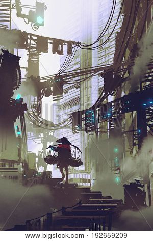 cyberpunk concept showing robot carrying on a shoulder pole walking in futuristic city, digital art style, illustration painting