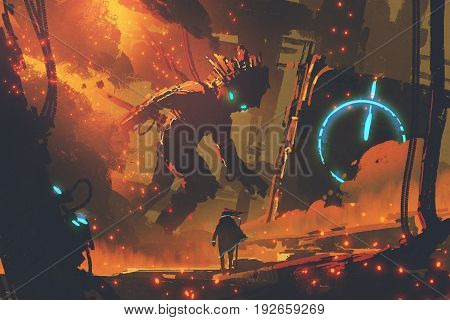sci-fi concept of the witch looking at giant robot with burning city on background digital art style illustration painting