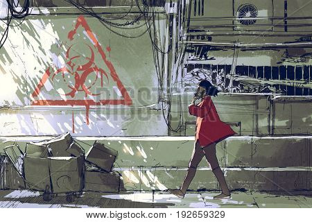 woman in red with gas mask walking on street in polluted urban with bio-hazard symbol on the wall, digital art style, illustration painting