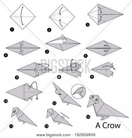 step by step instructions how to make origami A Crow