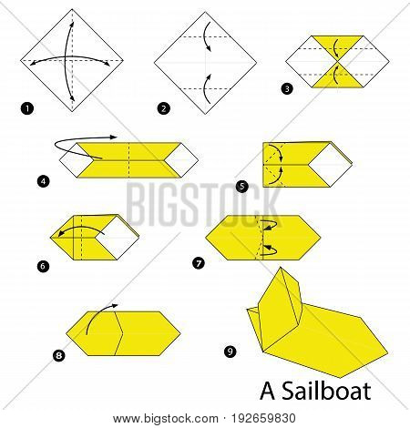 step by step instructions how to make origami A Sailboat