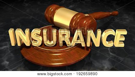 Insurance Law Concept 3D Illustration