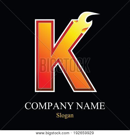 K letter fire logo design template. Vector design template elements for your application or company.