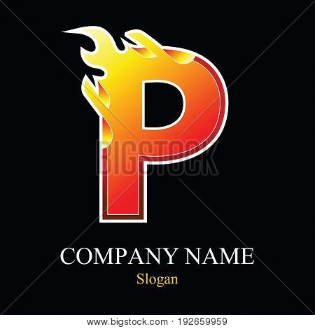 P letter fire logo design template. Vector design template elements for your application or company.