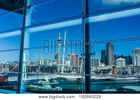 auckland, skyline in cbd, central harbour, urban landscape, new zealand
