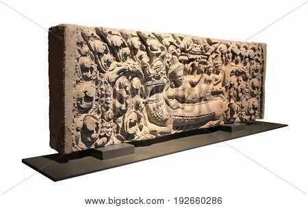 Naraibantomsin stone carving Lintel Simulate white background isolate