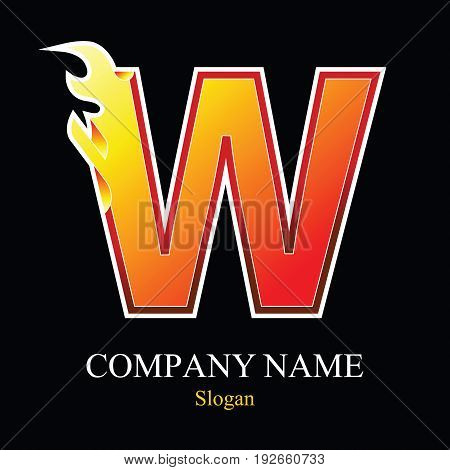 W letter fire logo design template. Vector design template elements for your application or company.
