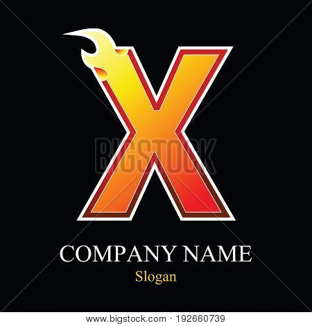 X letter fire logo design template. Vector design template elements for your application or company.