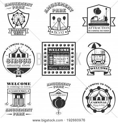 Vector set of amuesment park labels and design elements in vintage style. Black and white amusement park symbols, logos, bages and design elements. Attractions, carousel, wheel, ice cream cart.