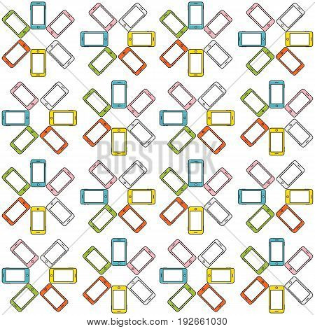 Seamless pattern made of colorful mobile phone (cellphone cellular phone) forming hexagon shapes