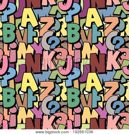 Seamless alphabet pattern made of colorful overlay abc characters school wallpaper muted pastel colors