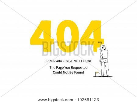 Error 404 page with a painter vector illustration on white background. Broken web page graphic design. Error 404 page not found creative template.