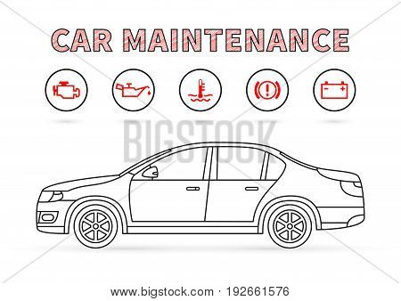 Car maintenance vector illustration on white background. Car technical service concept with warning signs: check engine oil pressure generator coolant level brake system.