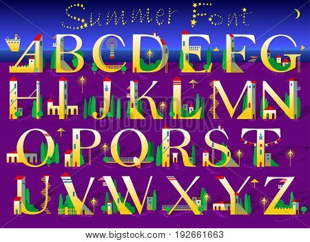 Summer Numerals. Signs are as white and yellow houses with red roofs doors windows and stairs. Purple and blue background is as sea and beach. Text by stars in the sky. Illustration