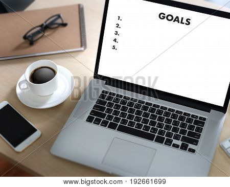 My Goals Handwriting Of  Motivational Memo Written Target Success Aspiration