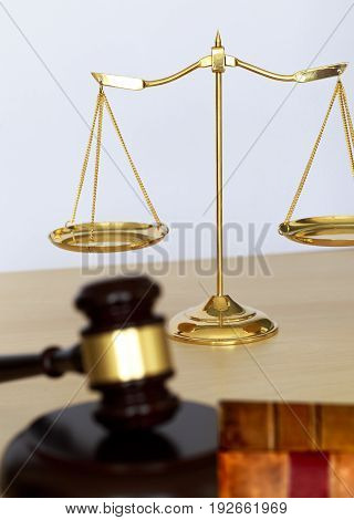 Gavel And Legal Judge Gavel Scales Of Justice And Law Working On Table