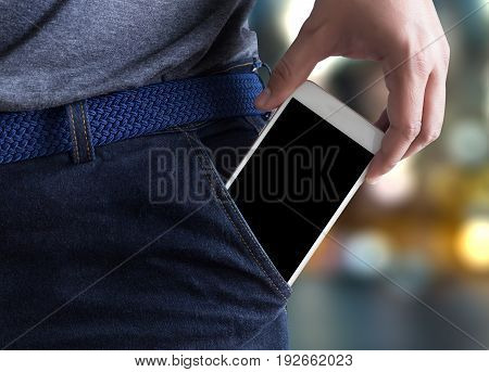 Young Handsome Poses Hand Mobile Phone Pocket Communication Copy Space
