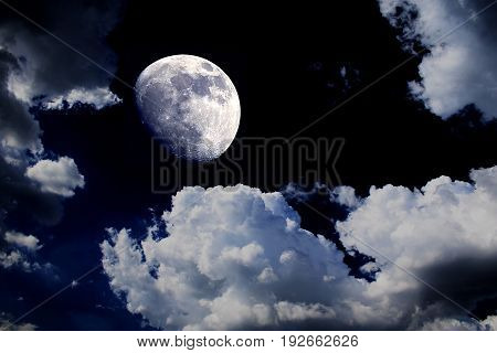 big moon blue sky night clouds background