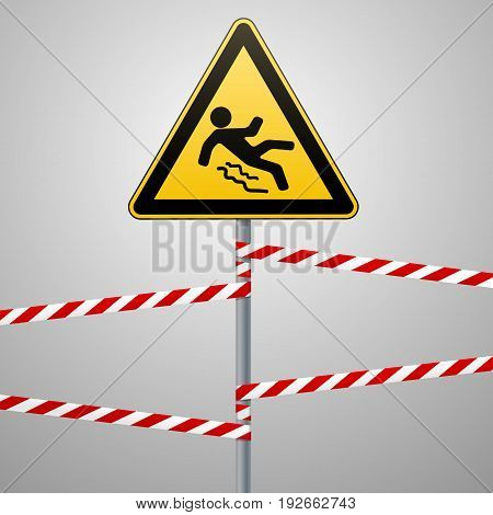 Caution - danger Beware of slippery. Safety sign. The triangular sign on a metal pole with warning bands. Gray background. Vector illustration.