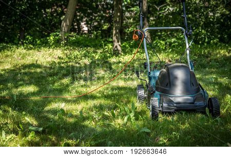 lawnmower on green grass in the backyard
