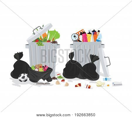 Garbage can full of overflowing trash littering waste disposed around the dust bin isolated on white backgroundVector illustration.