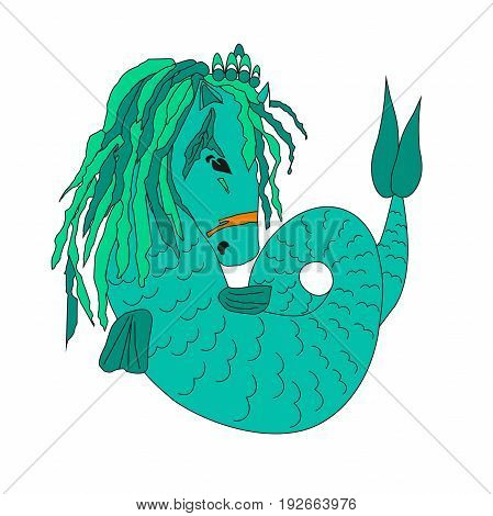 Illustration of a sea horse, animation animal, inhabitant of the sea, alga hair, crown on the head