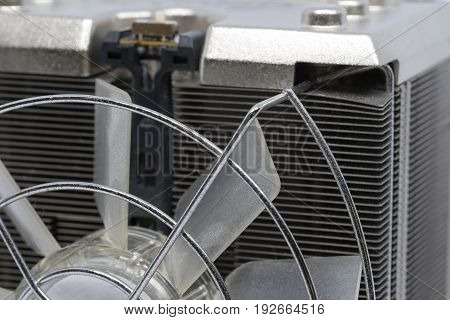 Close up CPU cooling fan with aluminum finned heat sink