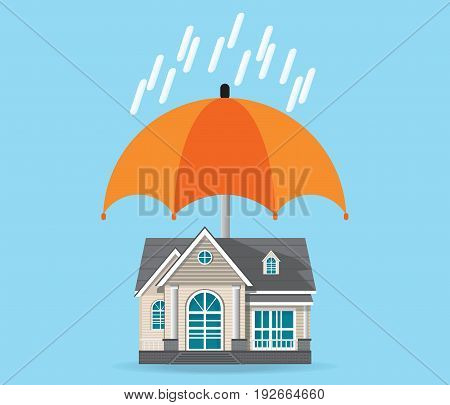 House insurance concept isolated on background house protected under umbrella home safety security residential home real estate protection vector illustration.