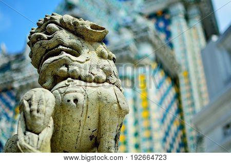 The Lion sculpture in Wat Phra Kaew Bangkok Thailand.