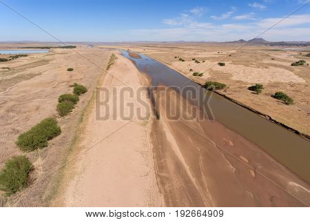 Aerial view of the Caledon river during the dry season, South Africa