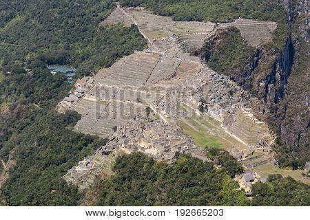 Machu Picchu Ruins from the top of Huayna Picchu, Peru