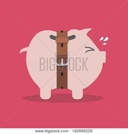 Piggy bank with a tight belt. Saving money concept